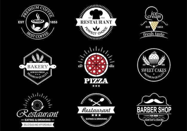 Набор старинных ретро этикетки дизайн логотипа