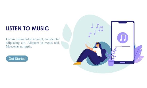 Девушка наслаждается своим хобби слушать музыку плоской иллюстрации
