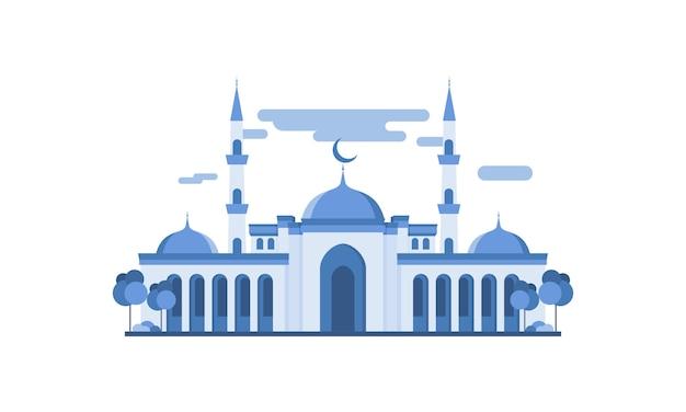 イスラムモスクの建物のフラットなデザイン図