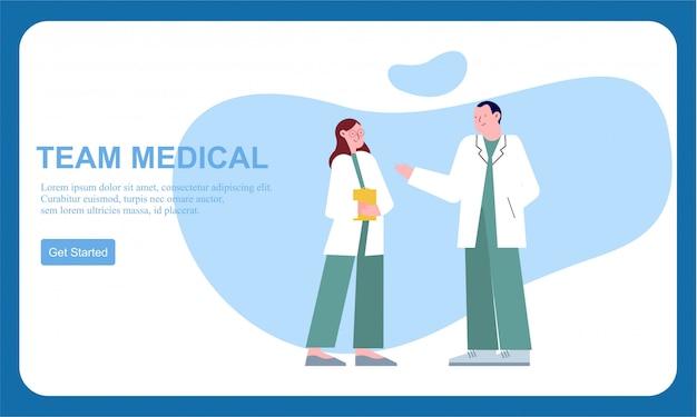 Медицинская команда врач и группа деловых людей плоский баннер