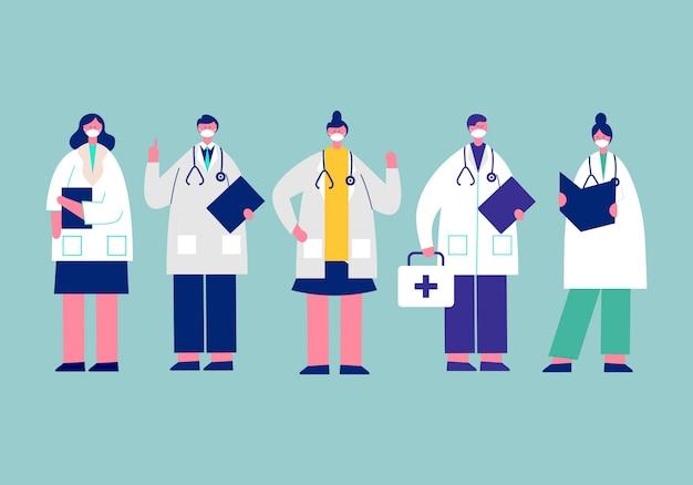 別の文字、医療の概念図で医師着用マスク