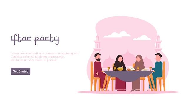 断食後のごちそうパーティーコンセプトを食べるフラットデザインイフタール。ラマダンカリームでのイスラム教徒の家族の夕食、またはイードを人々の性格で祝う。