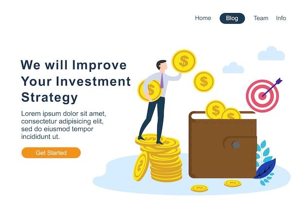 Плоский дизайн веб-страницы шаблоны финансов