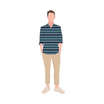 Иллюстрированный зрелый человек с повседневной одеждой