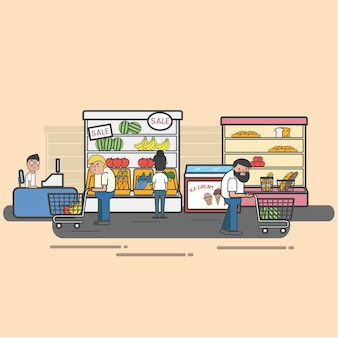 食料品店で買い物をする人々