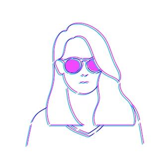 女性の落書きスケッチイラストベクトルを描く