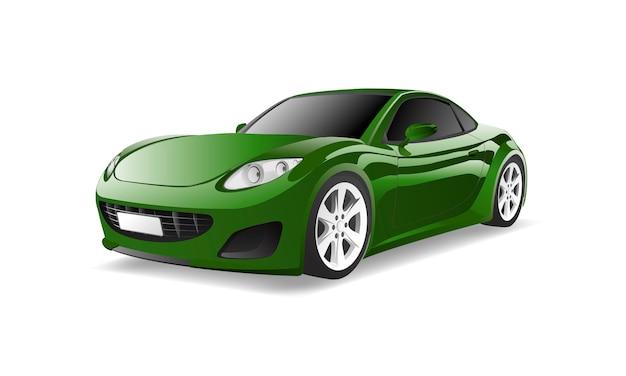 白い背景に隔離された緑の車の三次元イメージ