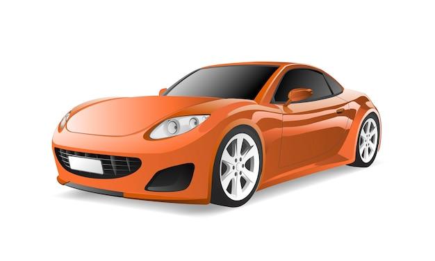 Трехмерное изображение оранжевый автомобиль, изолированных на белом фоне