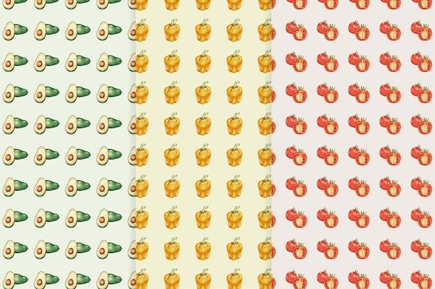 アボカドペッパートマトパターンベクトル