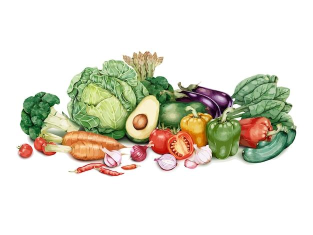 手で描いた野菜のバッチ