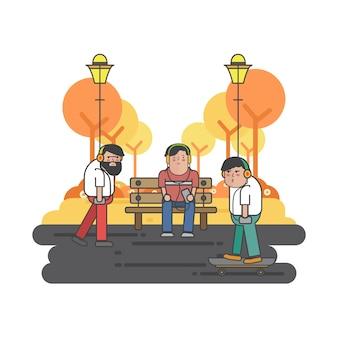 Иллюстрация парней, висящих в парке
