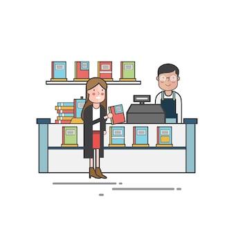 Девушка покупает книгу в книжном магазине
