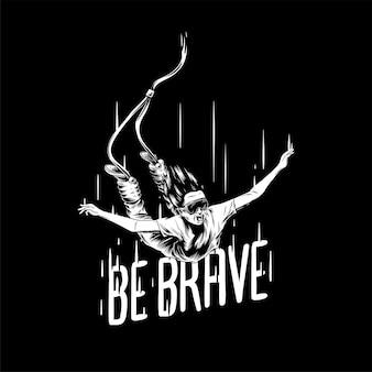 「勇敢に」手描きのイラストを描く