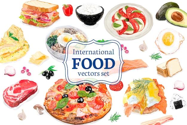 手描きの国際的な食べ物の水彩スタイル