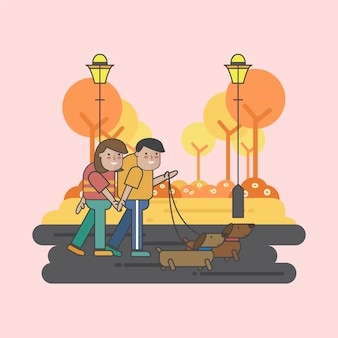 犬を歩くカップルのイラスト