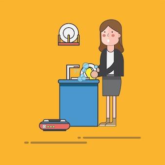 女を洗う皿