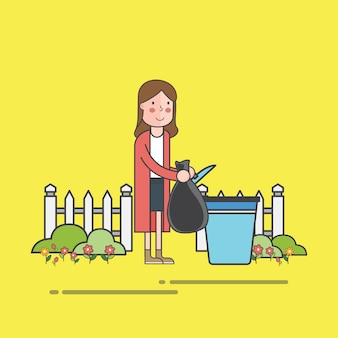 Женщина бросает мусор в контейнер для мусора