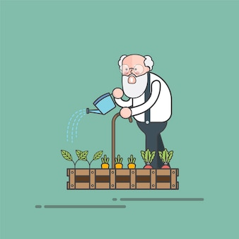 彼の庭のベクトルを水っている古いひげのある男