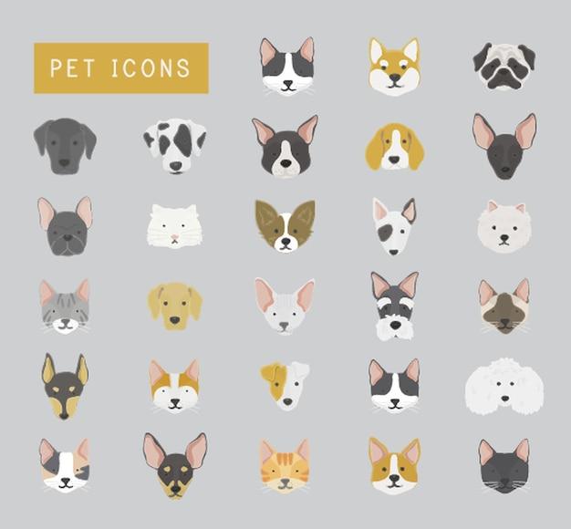 猫と犬のアイコンコレクション