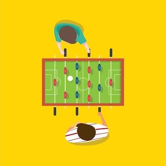 Вектор людей, играющих в настольный футбол