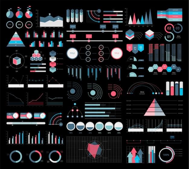 カラフルなインフォグラフィックグラフと図のイラスト