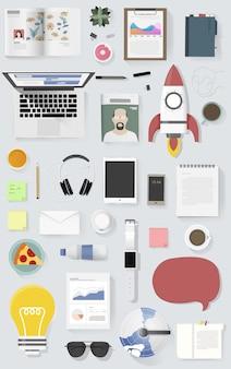 Иконка набор оборудования образ жизни вектор значок иллюстрации