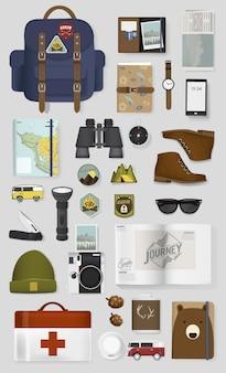 旅行用パッキング品イラストベクターの混合セット