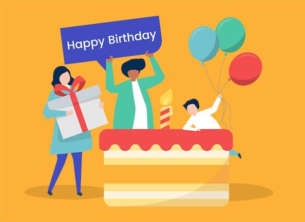 人々のキャラクターと誕生日パーティーのテーマのイラスト