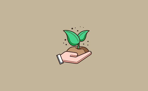 植物のイラストを植える手