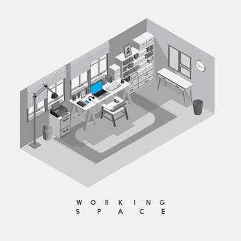 背景に隔てられた現代の作業スペース