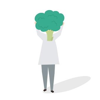 ブロッコリーを持つ女性のイラスト