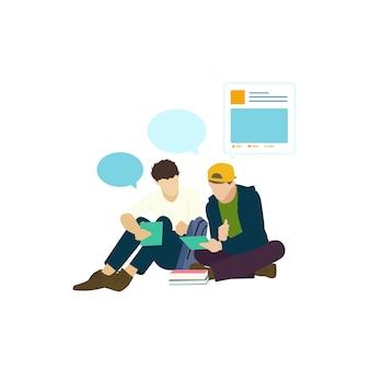 Иллюстрированные люди с социальной сетью