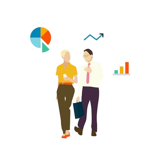 Иллюстрированный аватар деловых людей, идущих