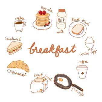 食品コレクションのイラストの描画スタイル