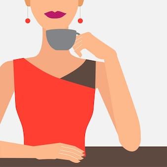女性、コーヒー、イラスト、カップ