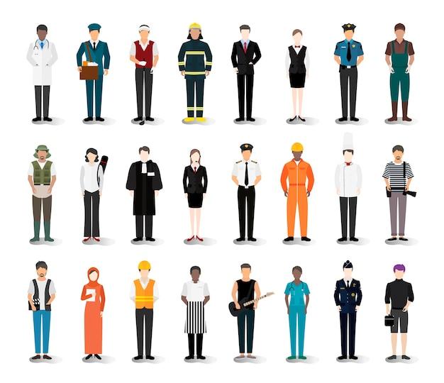 様々なキャリアや職業のイラストベクトル