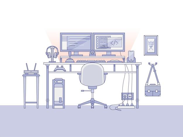 Рабочее пространство звукорежиссера или музыкального продюсера