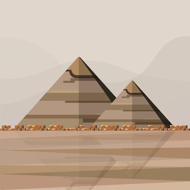 エジプトのピラミッドのイラスト