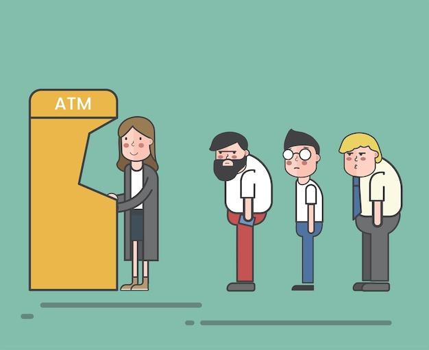 Люди, подключенные к банкомату