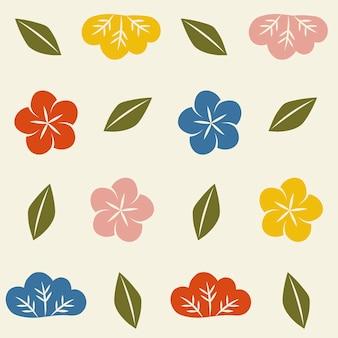シームレスな和風の花柄