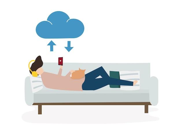 人々のアバター雲の接続の概念のイラスト