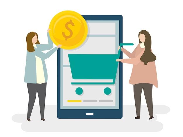 オンラインショッピングの電子商取引のイラスト