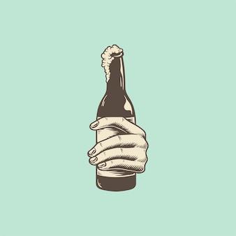 ビール瓶を持って手の図