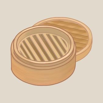 蓋のイラスト入り竹蒸し器