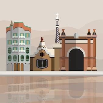 Иллюстрация туристических достопримечательностей в барселоне испания