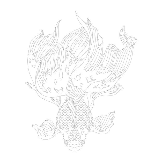 日本の金魚大人のぬりえのページ