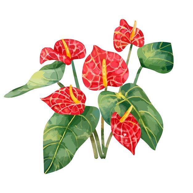 手描きの赤いレース葉の花