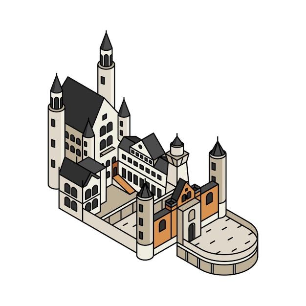 ドイツのノイシュヴァンシュタイン城のイラスト