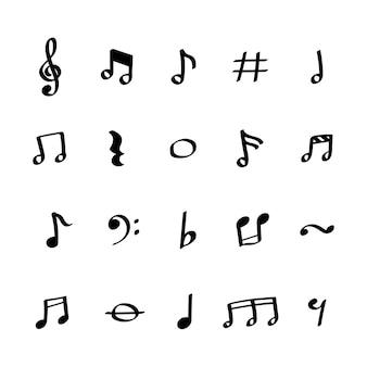 Иллюстрация набор значков музыкальных заметок