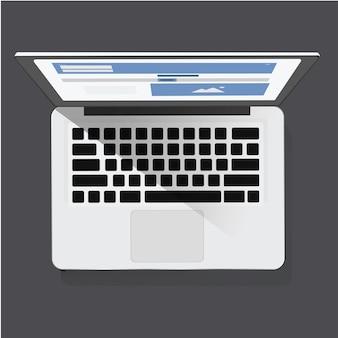デジタルラップトップアイコンのベクトル図